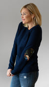 navy sweater with floral elbow patches, faux leather, handmade in Ottawa, layered fabric