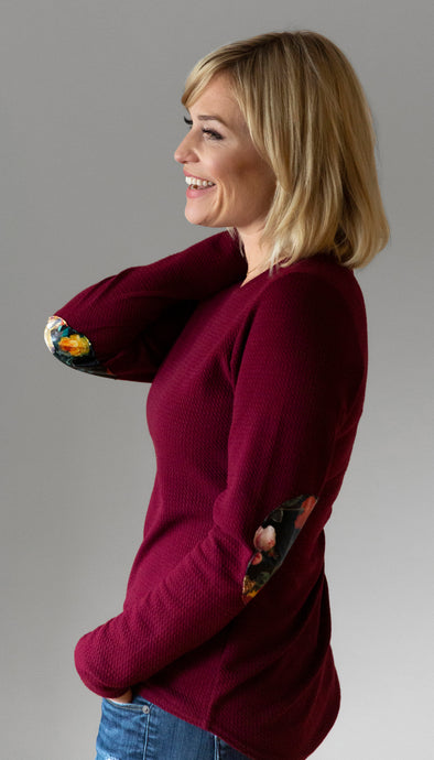 cranberry lightweight sweater with floral faux leather elbow patches, poly cotton spandex fabric, made in ottawa