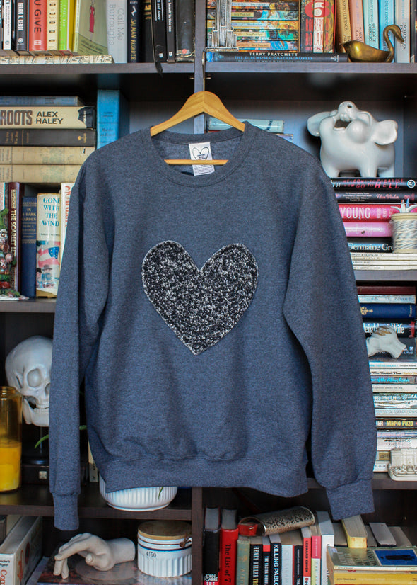 black flecked heart sweater, dark grey sweater, eco-conscious sweater, sewn in Ottawa