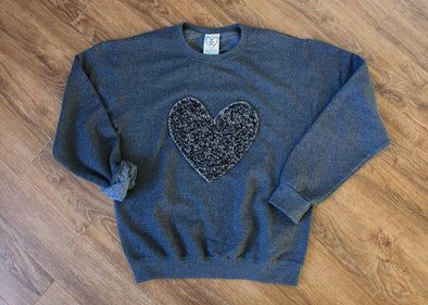 black heart sweater, recycled fabric, flecked heart, cut and sewn in Ottawa
