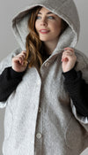 silver poncho, with oversized handmade poncho, pockets, short sleeves meant to layer with sweaters, handmade in Canada
