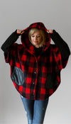red plaid poncho with oversized hood, black faux leather pockets, layering jacket