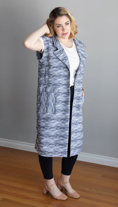 white and blue textured spring vest, collared vest, pockets, mid calf handmade in Ottawa