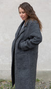 charcoal coat, grey coat made in Canada, fall jacket with pockets and long sleeves