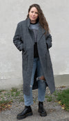 charcoal grey wool long coat, collared, pockets, long sleeve fall jacket made in Canada