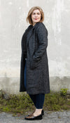 black flecked wool coat, made in Canada, pockets,