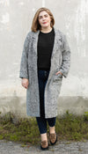 oversized long coat, fall trench coat, wool collared coat with pockets, white melange