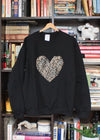 oversized comfy sweater with gold damask print heart sweater, holiday sweater, heart sweater, handmade in Ottawa