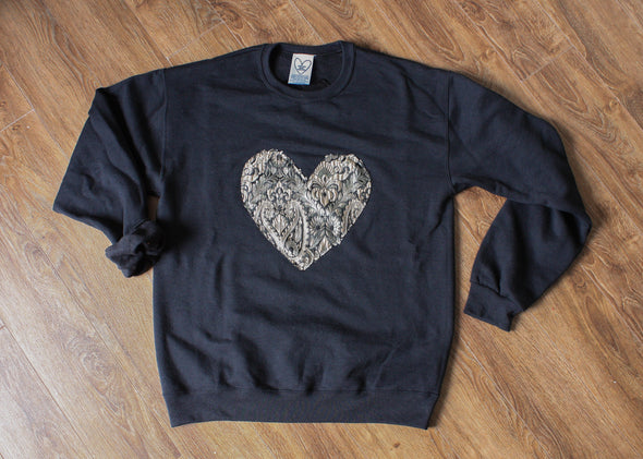 black athletic sweater with damask heart, gold, bronze and black damask print heart, handmade in Canada