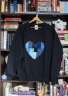 patchwork heart, hand stitched in Ottawa, black heart sweater, eco-friendly