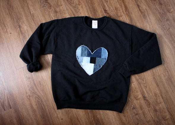 denim patchwork heart, heart sweater, black sweater, scrap fabric, eco-friendly, hand stitched in Ottawa