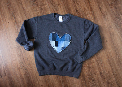 denim patchwork heart, charcoal sweater, scrap fabric, eco-friendly, hand stitched in Ottawa