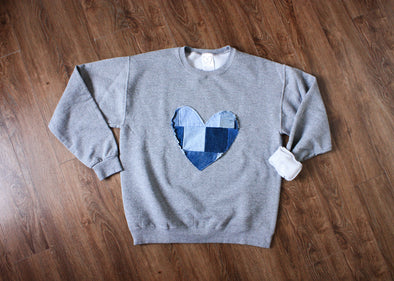 heart sweater, denim patchwork heart, scrap fabric, eco-friendly, hand stitched in Canada