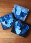 patchwork denim hearts, quilted heart, scrap fabric, one of a kind, heart sweater, hand stitched in Ottawa