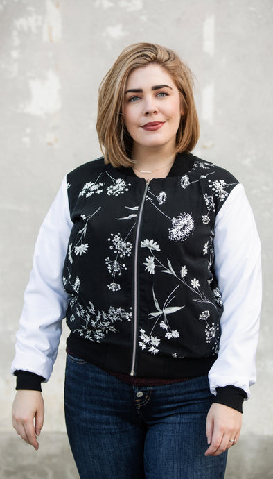 reversible bomber jacket, solid black side reversible to black and white floral side, handmade in Ottawa