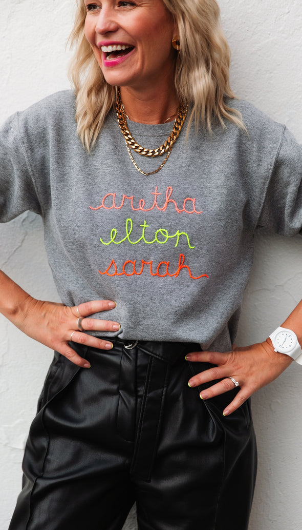 CUSTOM sweater with embroidered names on it, feminist sweater, hand stitched in Ottawa