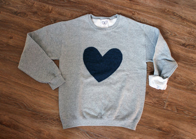 indigo heart sweater, recycled fabric, comfy oversized sweater, blue heart, stitched in Ottawa