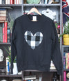 black oversized comfy sweater with heart applique, white and black plaid heart, handmade in Ottawa