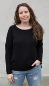 open neckline sweater, comfy black sweater, raglan sleeve, handmade in Ottawa