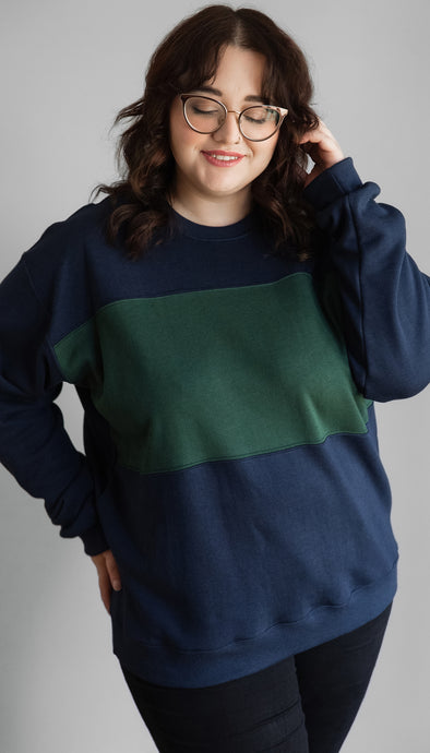 oversized, comfy sweater with ombre grey to black design, handmade in Ottawa