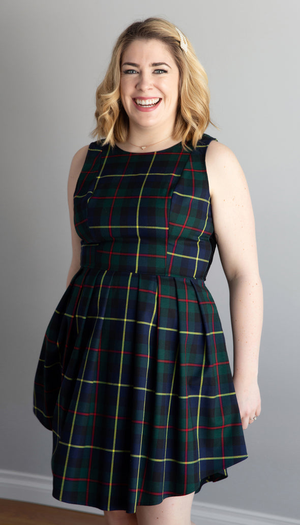 green plaid fit and flare dress, with polka dot back fabric, pleated skirt, handmade in Ottawa