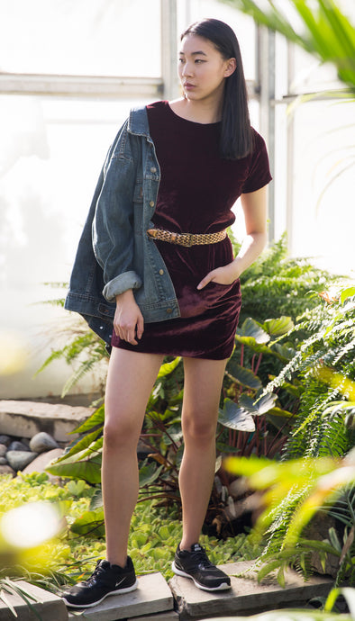maroon velvet tshirt dress with pockets