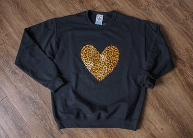 black oversized sweater with leopard print heart, faux leather heart, made in canada