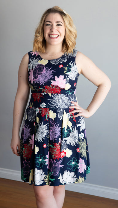 fit and flare dress, navy floral print, pockets, back detail, handmade in Ottawa