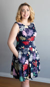 fit and flare dress, box pleat skirt, pockets, waistband, navy floral print handmade in Canada