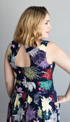 fit and flare dress, navy floral print, back cut out detail, sleeveless, handmade in Ottawa