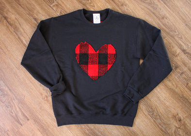 black comfy sweater with red lumberjack heart, heart sweater, heart applique, athletic sweater, oversized sweater, handmade in Toronto
