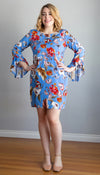 blue tropical floral dress, shift dress, ruffle sleeve detail, handmade in Ottawa