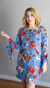 shift dress, made in Canada, tropical floral print