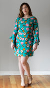 teal floral shift dress with ruffled sleeve detail, handmade in Canada