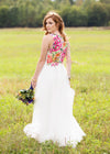 alternative wedding gown, colourful wedding gown, floral wedding gown, tulle skirt gown, floral lace back, floral wedding gown custom made in Ottawa