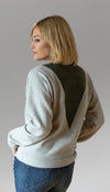 light grey long sleeve sweater with v-insert detail, insert fabric is olive cable knit fabric, handmade in Canada