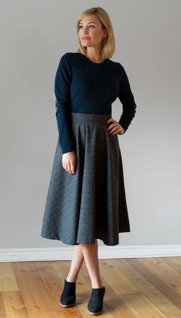 Grey Plaid high waisted flared skirt, tea length, side seam zipper, handmade in Toronto
