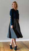 mid calf plaid skirt, dark grey with flecks of blue, side seam zipper and waistband, handmade in Canada