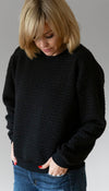 oversized black sweater, with cable knit detail, textured sweater, chic sweater, handmade in Ottawa