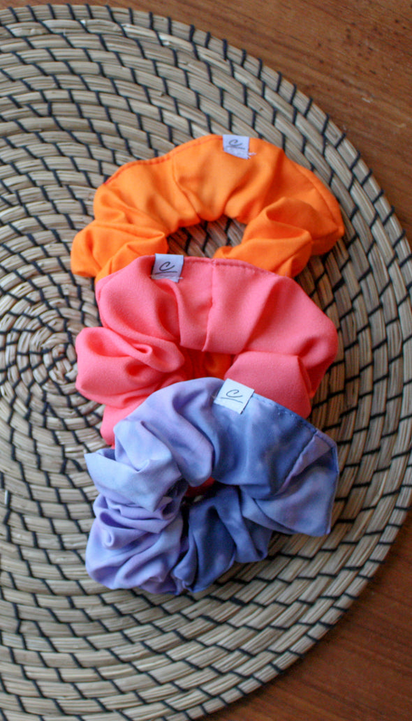 bright orange, hot pink and blue/purple tie dye scrunchies, locally made with scrap fabric, handmade in Ottawa