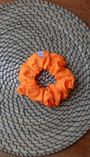 orange sherbet scrunchie, made from scrap fabric and made locally in Ottawa