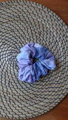 blue and purple tie dye scrunchie, handmade in Ottawa with scrap fabric