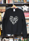 black oversized sweater with silver embroidered heart, heart applique, made in ottawa