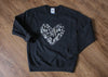 black athletic sweater with silver floral lace heart, heart sweater, made in canada