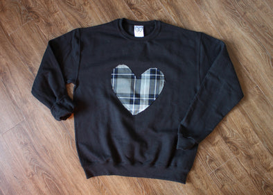 silver plaid heart sweater, tartan heart, recycled fabric, made in Ottawa