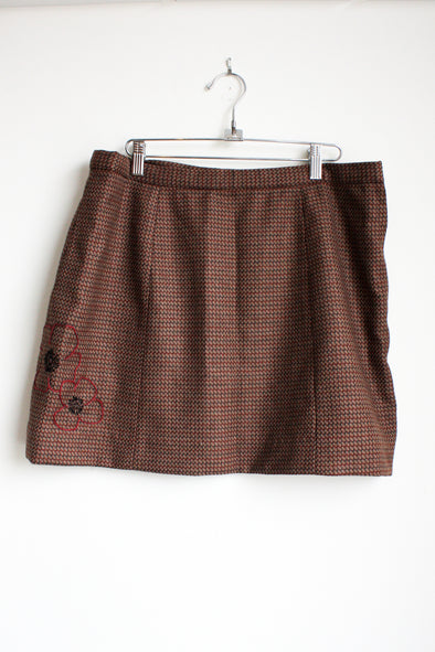 handmade tweed skirt with embroidered flowers, hand stitched in Canada