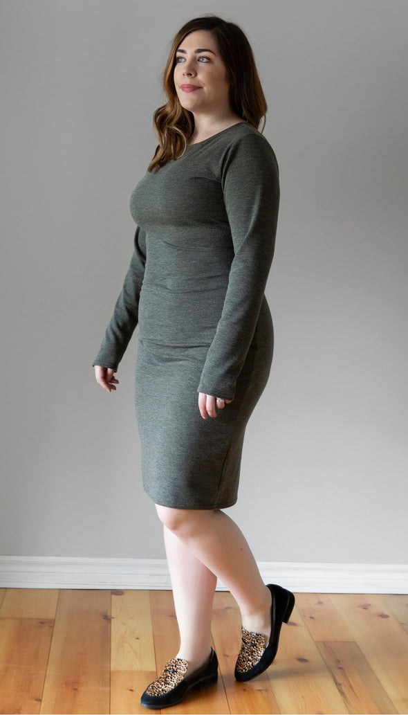 ribbed green stretch dress, fitted, long sleeve, knee length, handmade in Ottawa