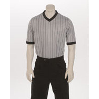 "GREY ""ELITE"" Performance Interlock V-Neck Shirt w/Black Pinstripes"