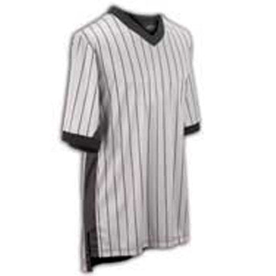 "GREY ""ELITE"" Performance Interlock V-Neck Shirt w/Black Pinstripes and Black Side Panel"
