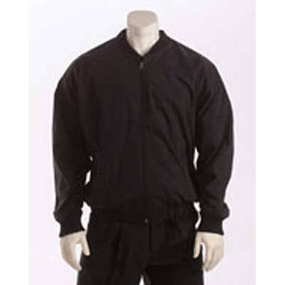 Black Poly-Cotton Shell Jacket with Full-Zipper Front and Side Seam Pockets
